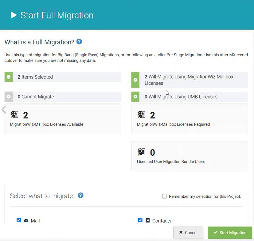 Start Migration