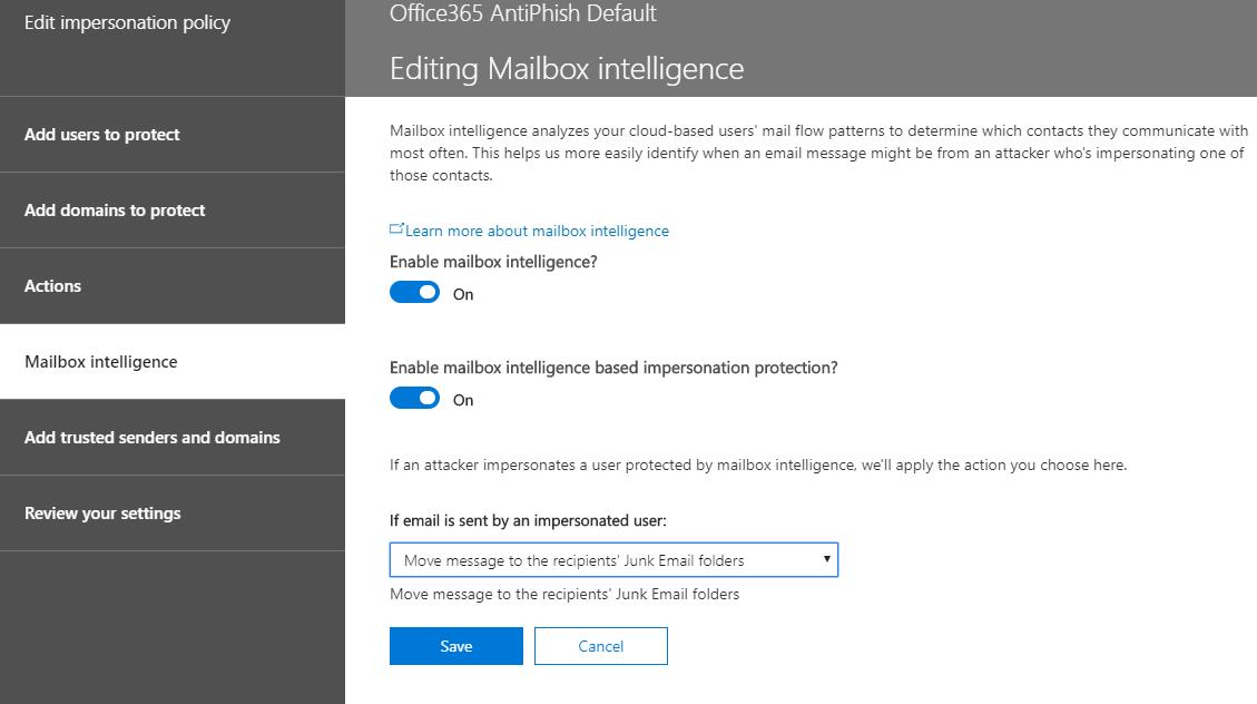Mailbox intelligence - Office 365 ATP