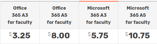 office 365 for education pricing