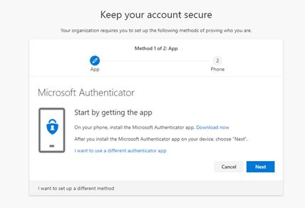 Microsoft Authenticator app setup