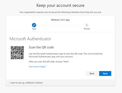 Microsoft Authenticator QR code
