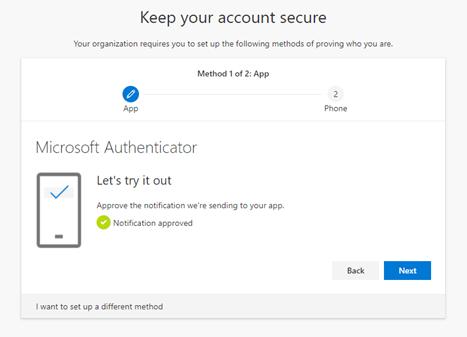 Microsoft Authenticator setup finished