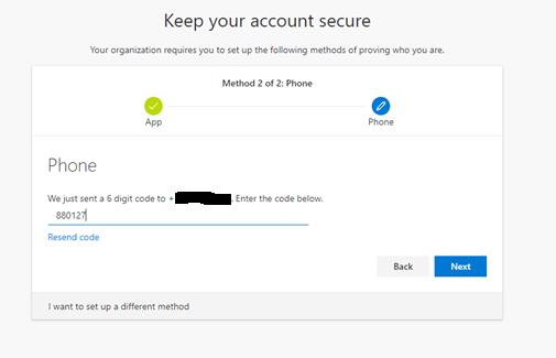 Microsoft Authenticator backup phone verification
