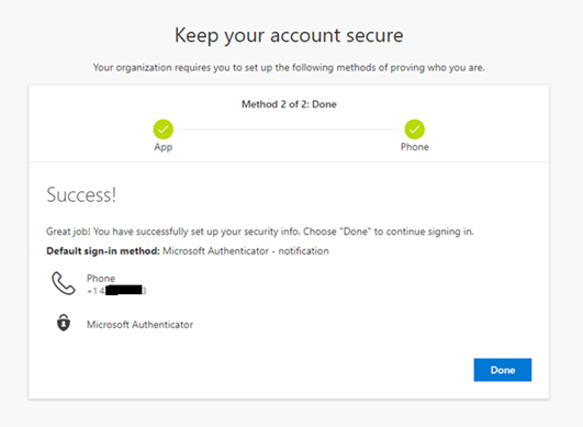 Microsoft Authenticator complete setup