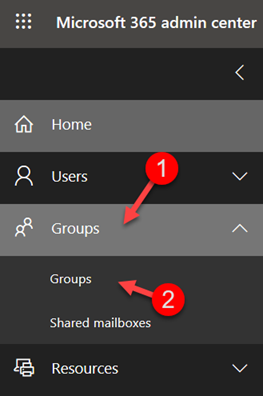 Microsoft 365 Admin Center Security Groups