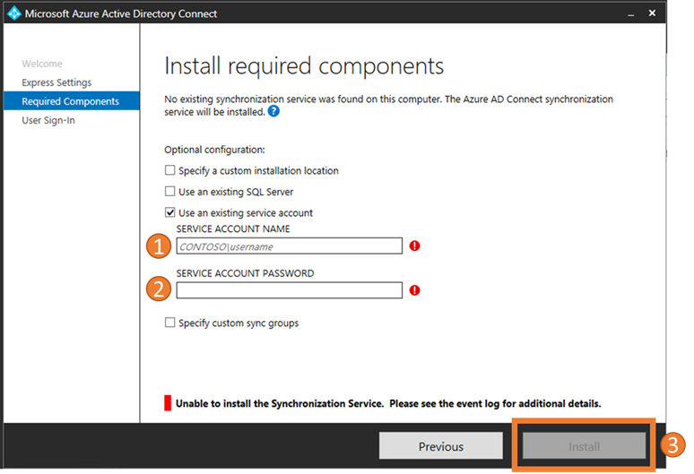 Azure AD Connect Required Components