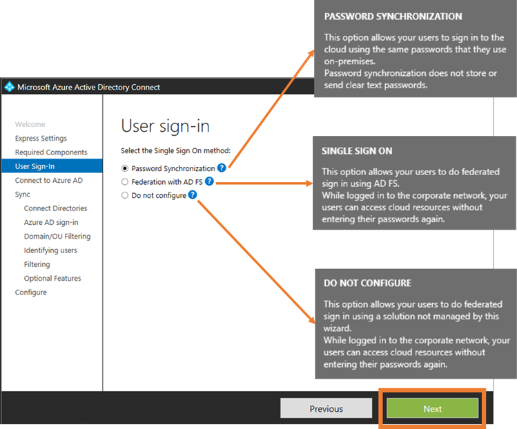 Azure AD Connect User Sign-In