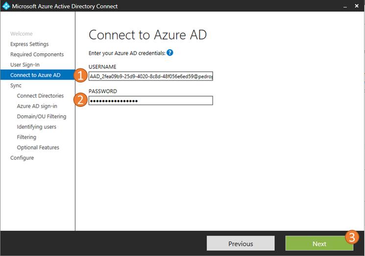 Azure AD Connect credentials