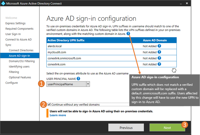 Azure AD Connect Sign-In Configuration