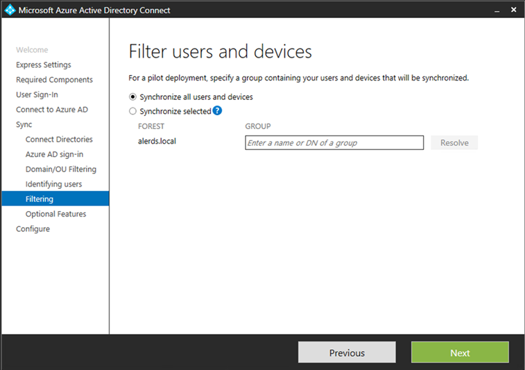 Filter users and devices in Azure AD Connect