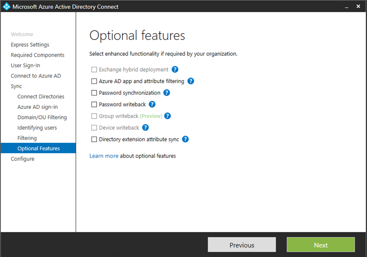 Azure AD Connect Optional features