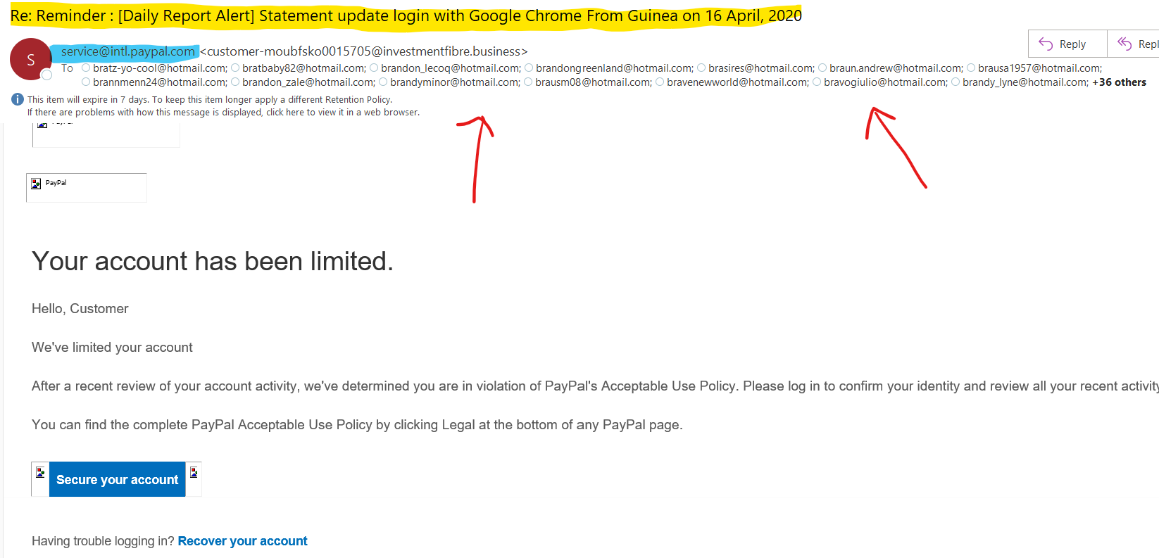PayPal Phishing Email (Bad Example)