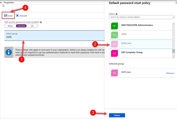 Self-Service Password Reset is enabled
