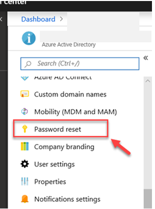 Password Reset azure portal