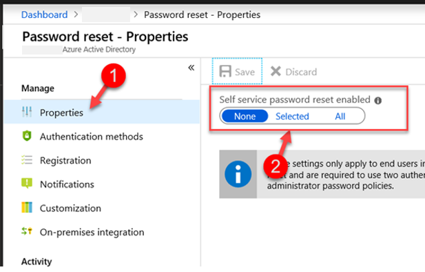 Self-Service Password Reset Properties Azure Portal